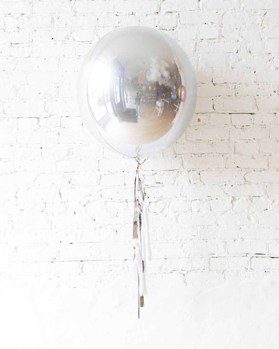 GIFT-21in Silver Orb Foil Balloon and White, Grey an Silver Half-Tassel