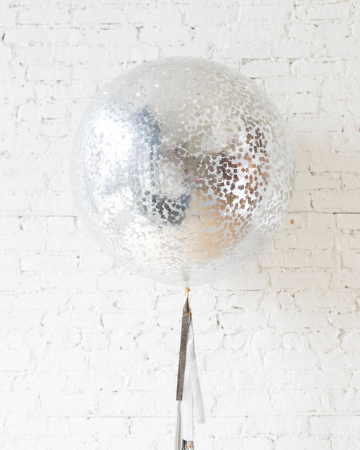 GIFT-Silver Confetti Giant Balloon and White, Grey and Silver Tassel