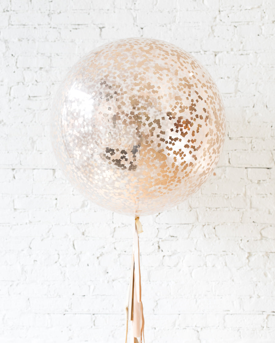 GIFT-Copper Confetti Giant Balloon and Ivory, Blush & Copper Tassel