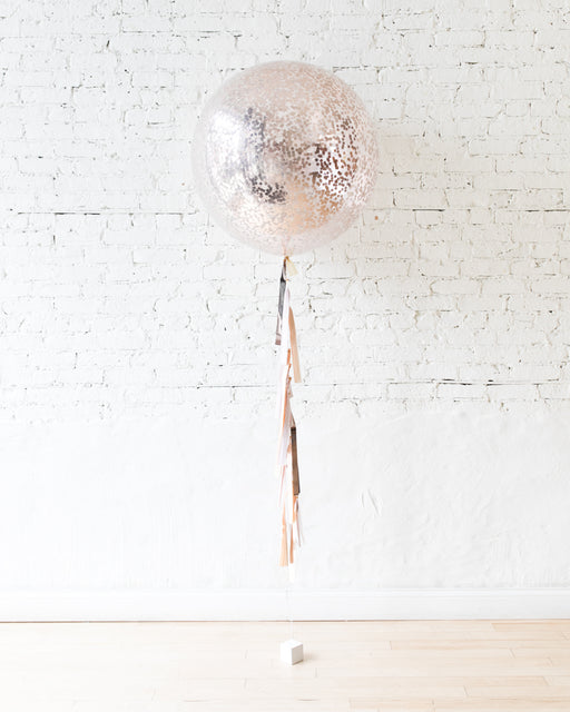 GIFT-Rose Gold Confetti Giant Balloon and Blush, Mauve & Rose Gold Tassel