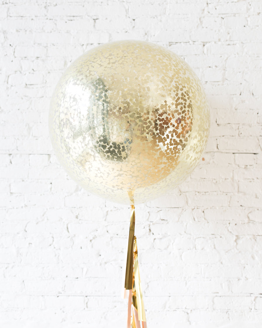GIFT-Gold Confetti Giant Balloon and Blush & Gold Tassel