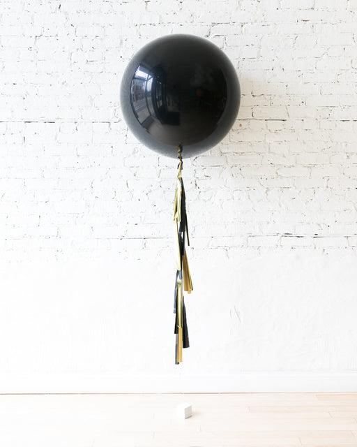 GIFT-Black Giant Balloon and Black & Gold Tassel