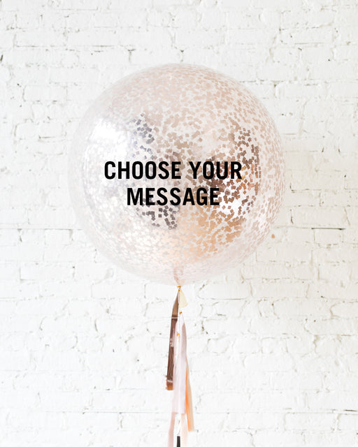 Customizable GIFT-Mother's Day Rose Gold Confetti Giant Balloon and Tassel