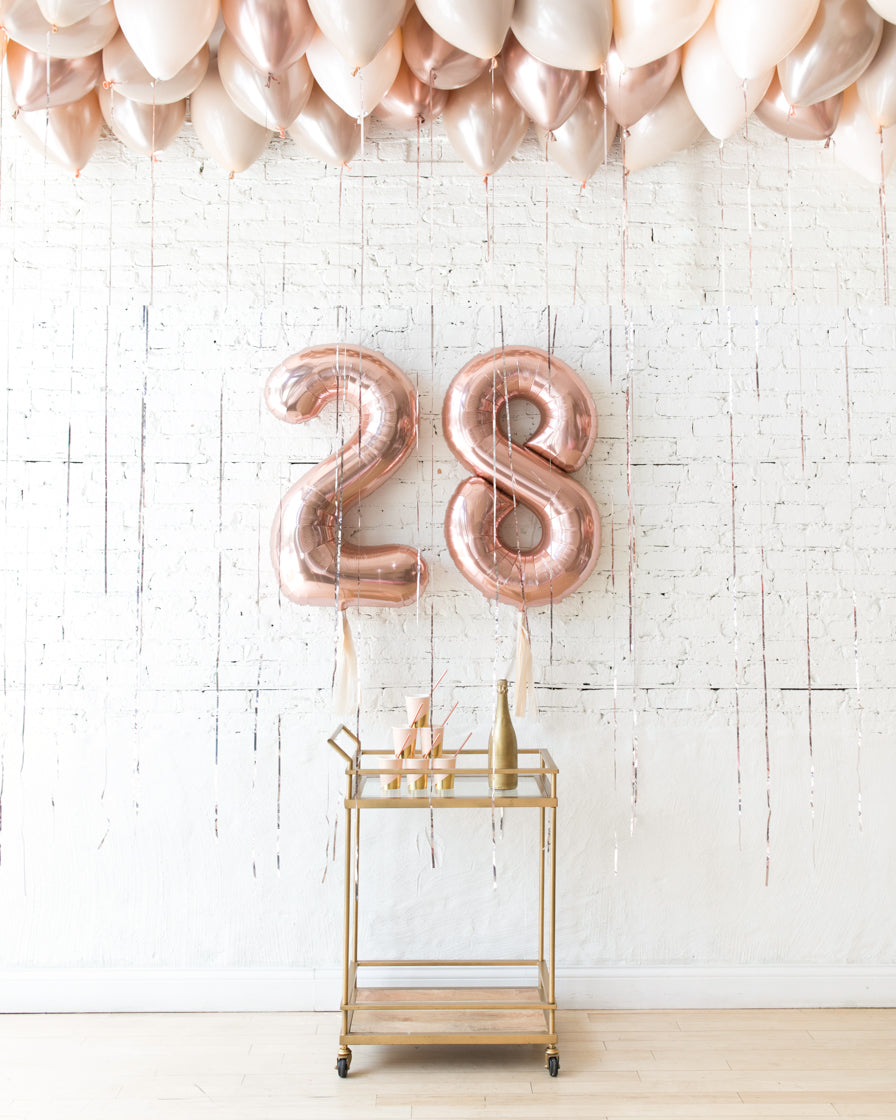Glam Tan - Foil Numbers & Ceiling Balloons Set