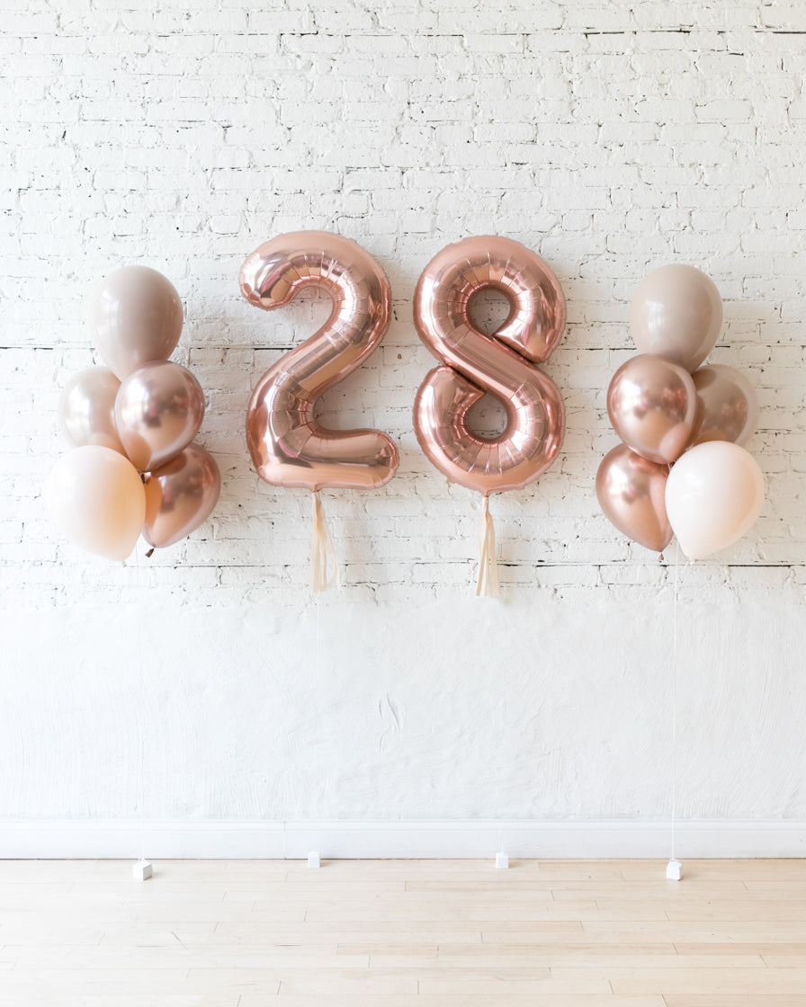Glam Tan - Numbers & 11in Balloon Bouquets Set