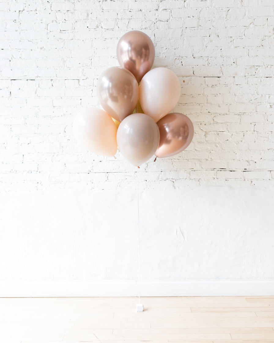Glam Tan - Champagne Foil and 11in Balloons - bouquet of 7