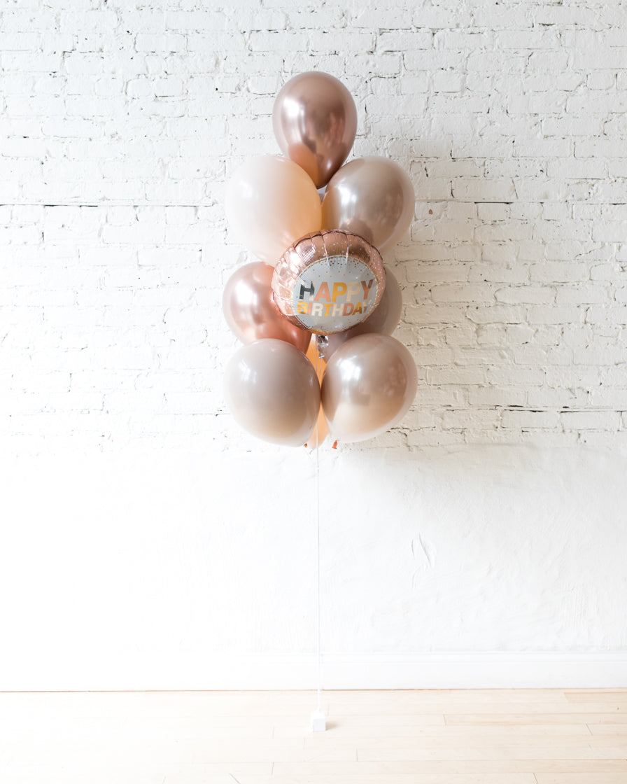 Glam Tan - Happy Birthday Foil and 11in Balloons - bouquet of 10