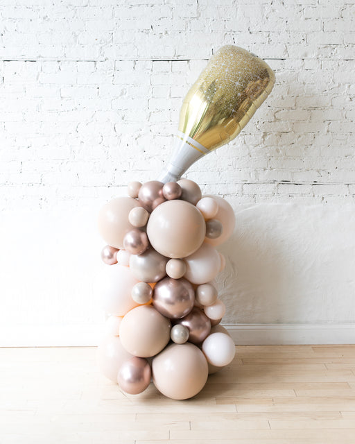 Glam Tan - Champagne Bottle Balloon Column - 4ft