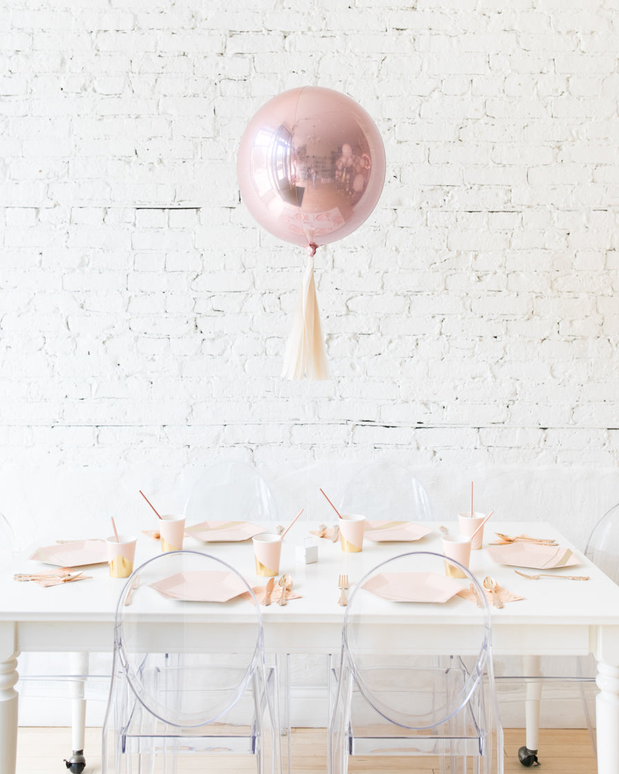 16in Rose Gold Orb Foil Balloon and Ivory Skirt Centerpiece