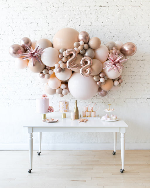 Glam Tan - Number Backdrop Balloon Garland Install Piece - 6ft
