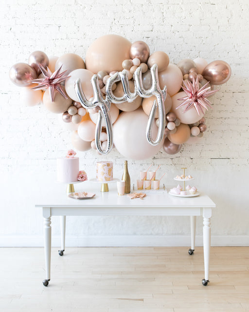 Glam Tan - Yay Script Backdrop Balloon Garland Install Piece - 6ft