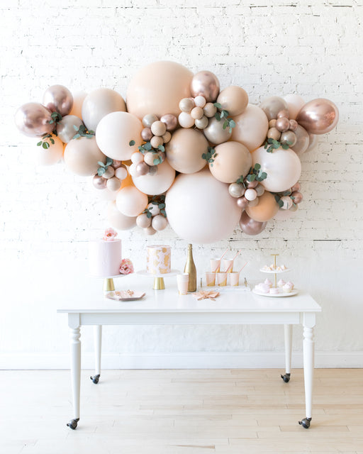 Glam Tan - Backdrop Balloon Garland Install Piece with Greenery - 6ft