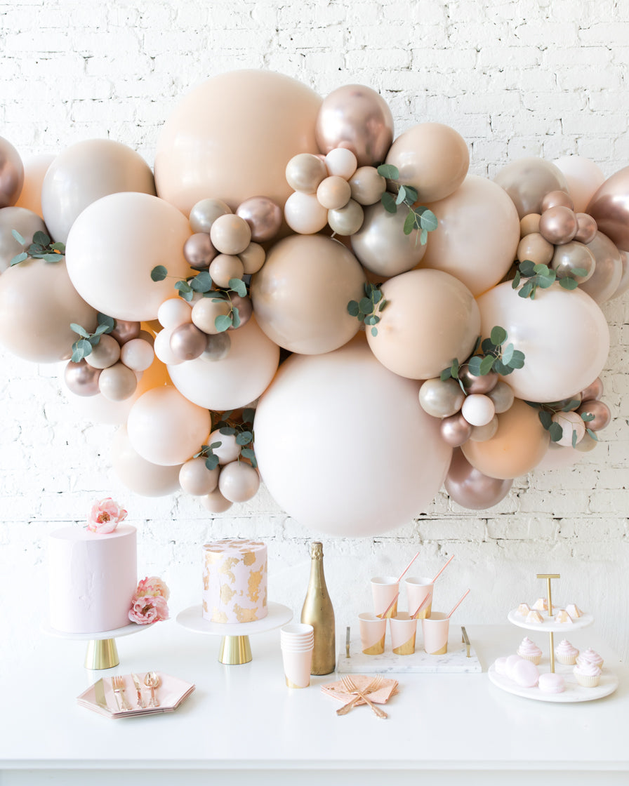 Glam Tan Backdrop Balloon Garland Install Piece With Greenery 6ft Paris312