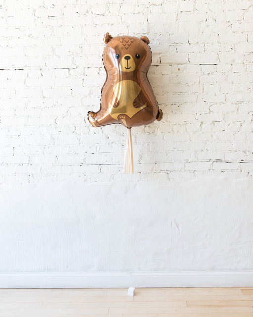 Woodland Bear Foil Balloon with Blush Skirt