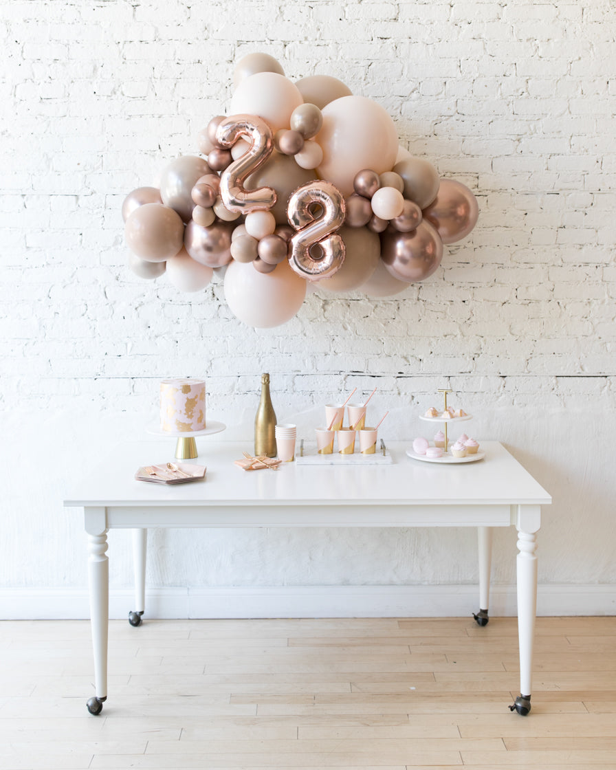 Glam Tan - Number Backdrop Balloon Garland Install Piece - 3ft