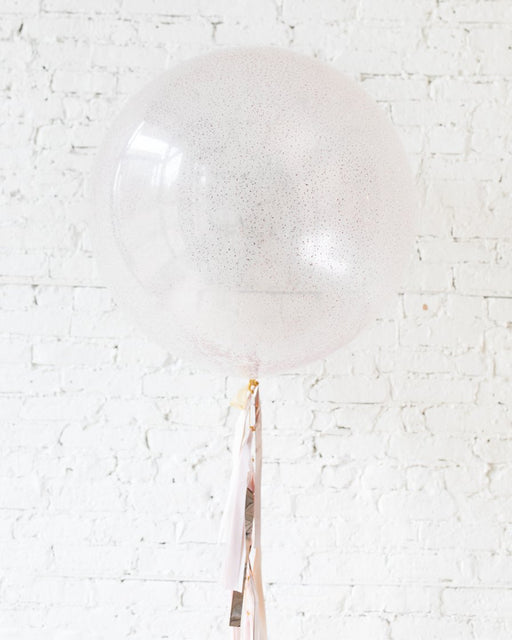 Rose Gold Glitter Giant Balloon and Shades of Mauve Tassel