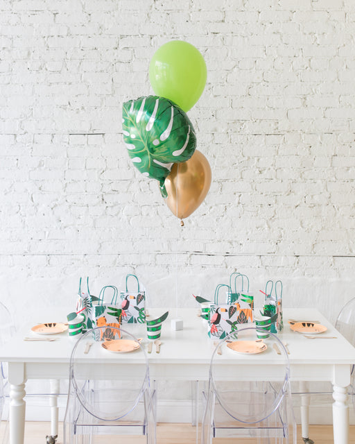 Jungle Theme Foil and 11in Balloons Centerpiece - bouquet of 3