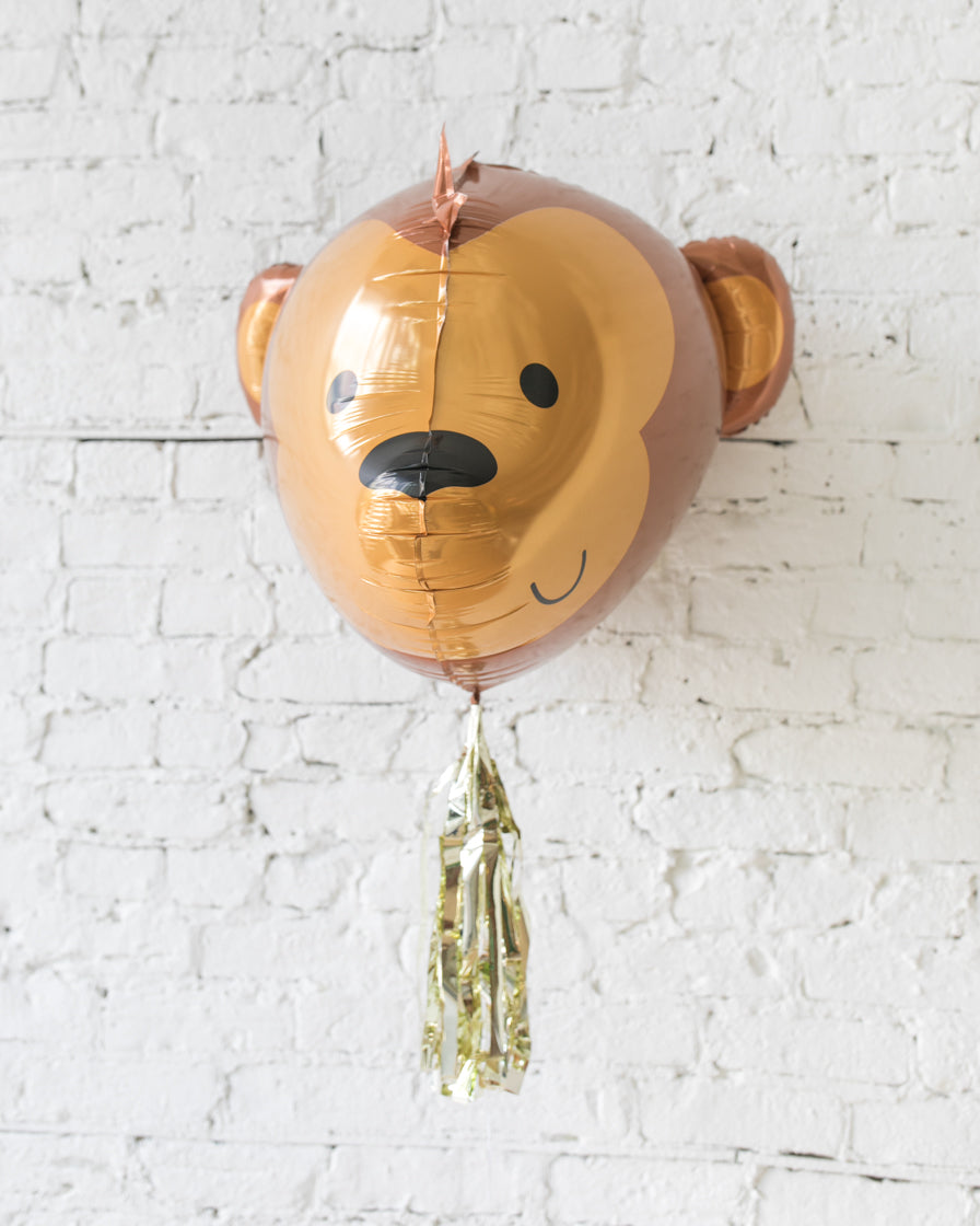 GIFT-29in 3D Monkey Foil Balloon and Gold Skirt