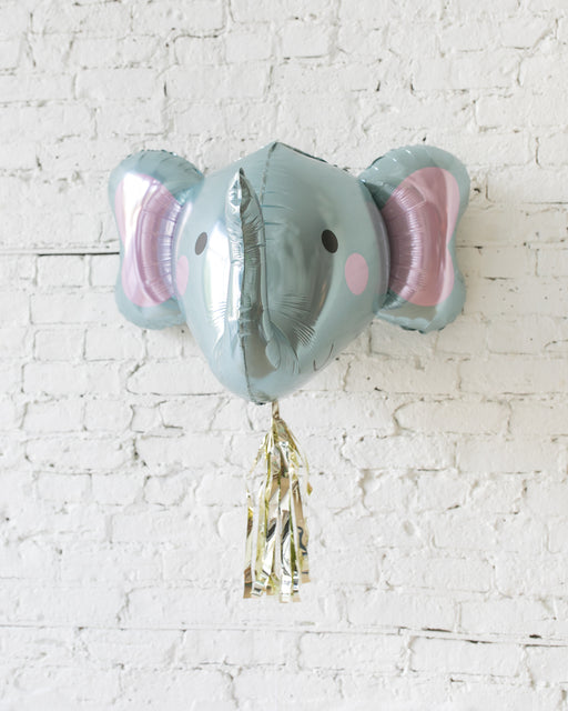 GIFT-34in 3D Elephant Foil Balloon and Gold Skirt