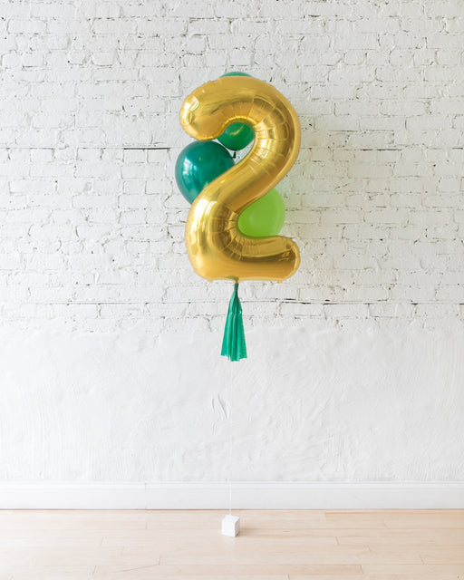 Customizable Jungle Theme Foil Number and latex Balloons - bouquet of 4