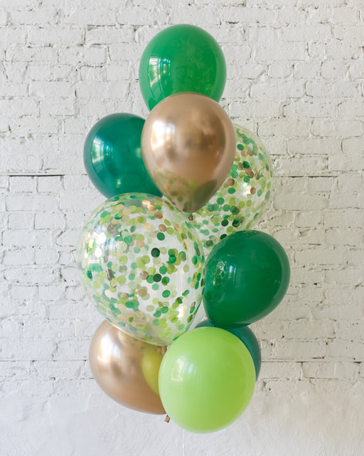Jungle Theme Confetti and 11in Balloons - bouquet of 10