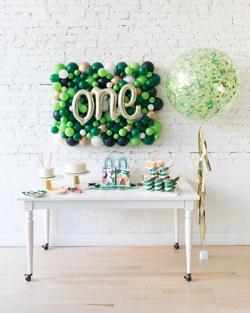 Jungle Theme Script Balloon Backdrop and Confetti Giant Set