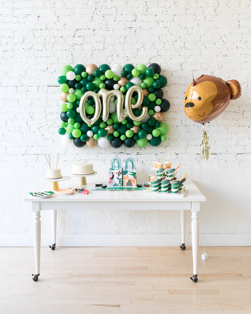 Jungle Theme Script Balloon Backdrop and Foil Balloon Set