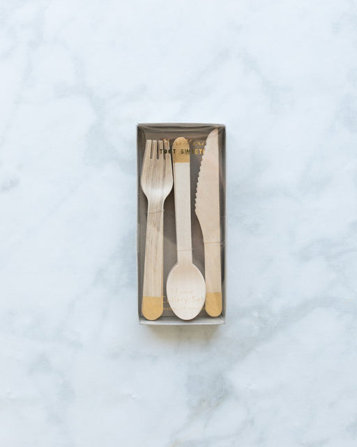 Meri Meri Gold Dipped Wooden Cutlery Set - pack of 24