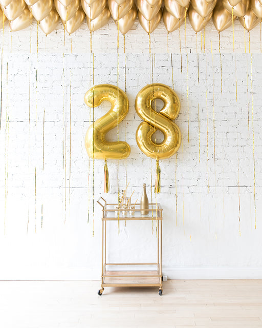 Golden - Number Foils & Ceiling Balloons Set