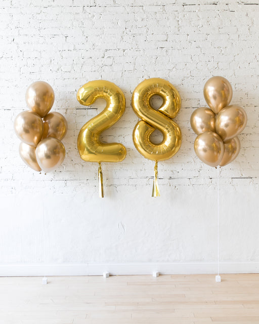 Golden - Numbers & 11in Balloon Bouquets Set