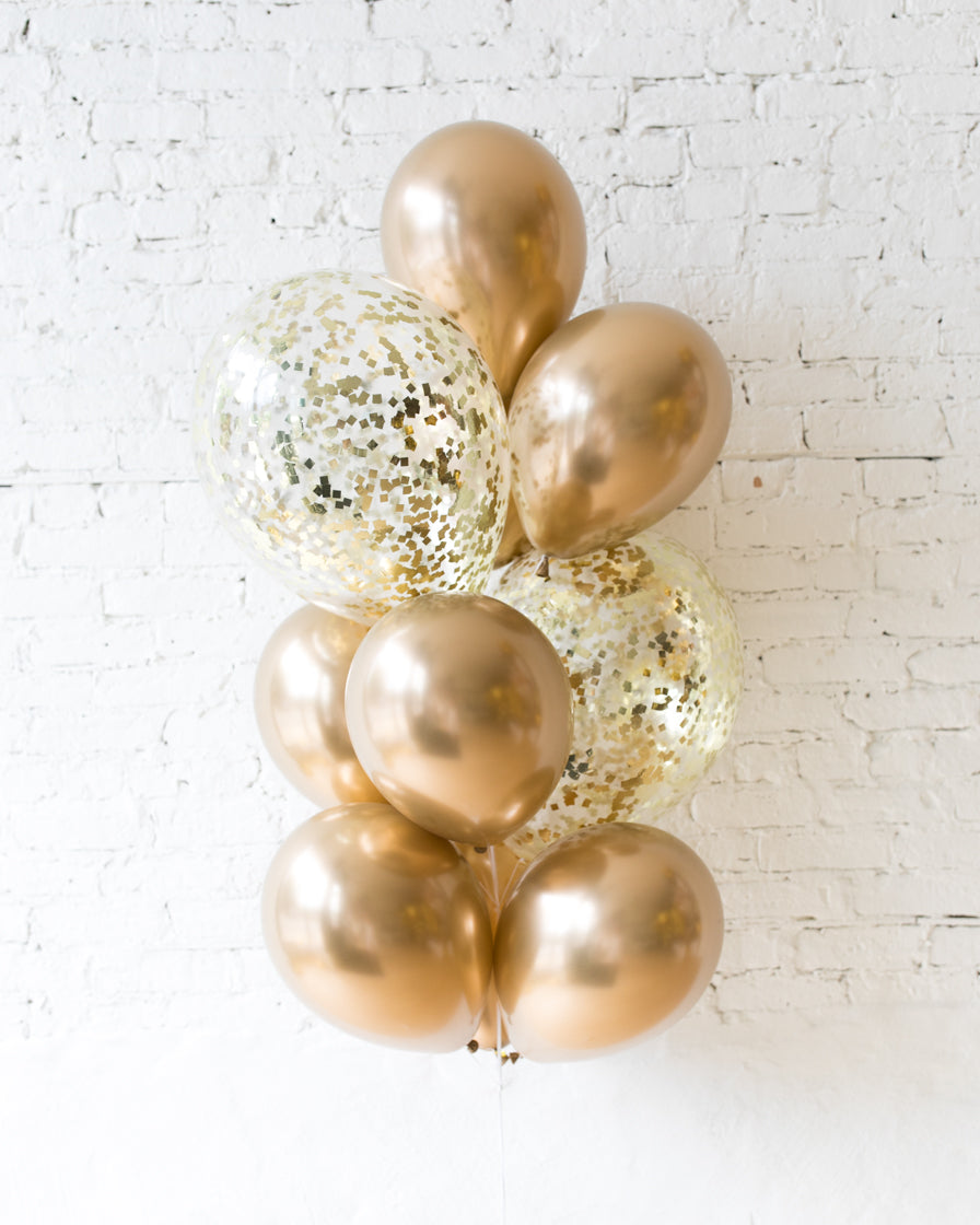 Golden - Confetti and 11in Balloons - bouquet of 10