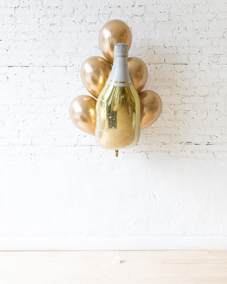 Golden - Champagne Foil and 11in Balloons - bouquet of 7