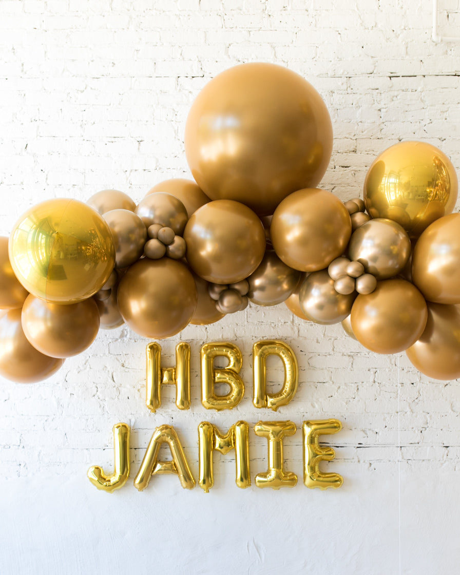 Golden - Floating Balloon Arch & Foil Letters Set