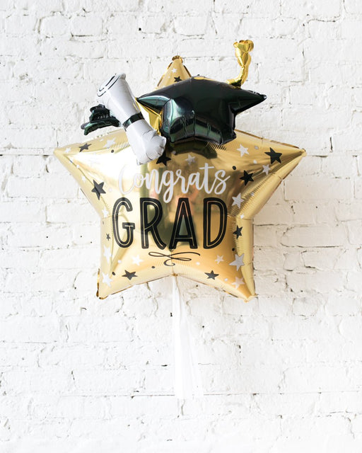 28in Graduation Star Foil Balloon and White Skirt
