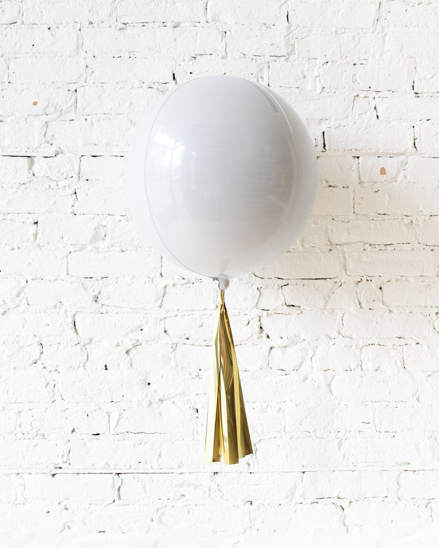 16in White Orb Foil Balloon and Gold Skirt Centerpiece