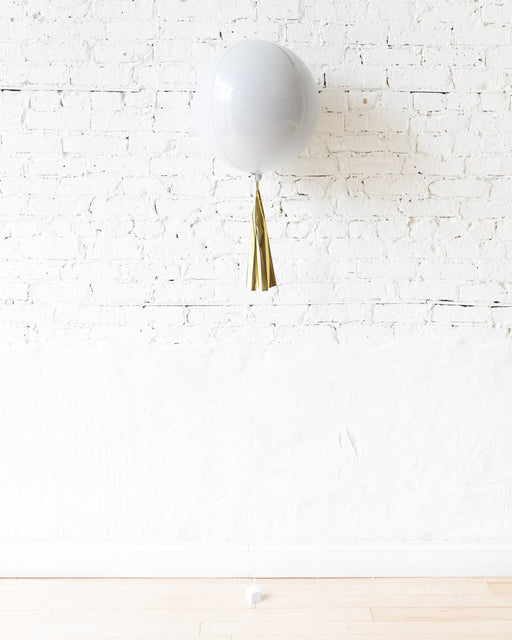 16in White Orb Foil Balloon and Gold Skirt