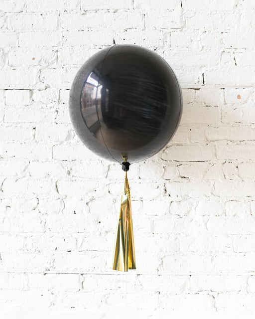 16in Black Orb Foil Balloon and Gold Skirt