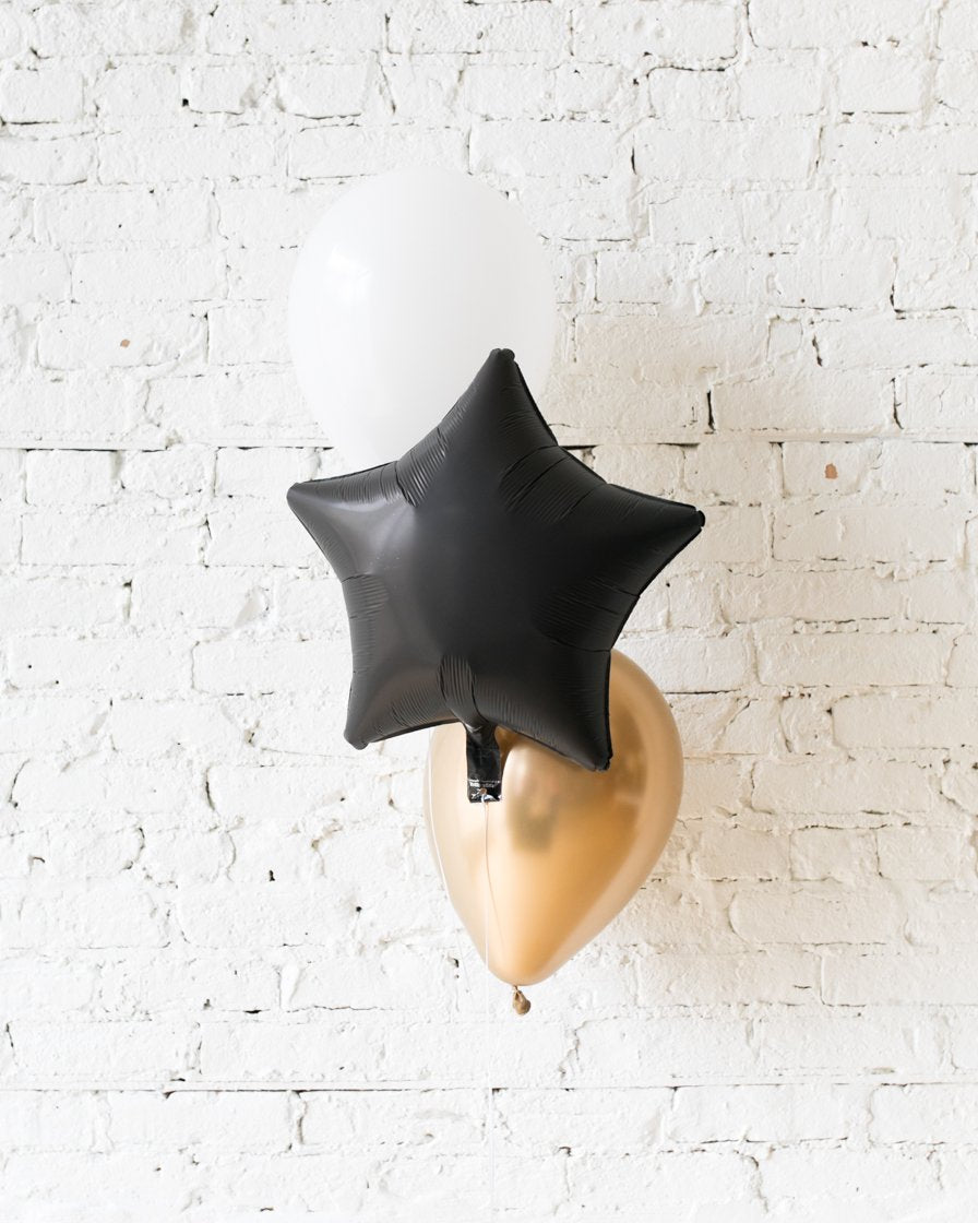Black, White and Gold Palette Star and 11in Balloons - bouquet of 3