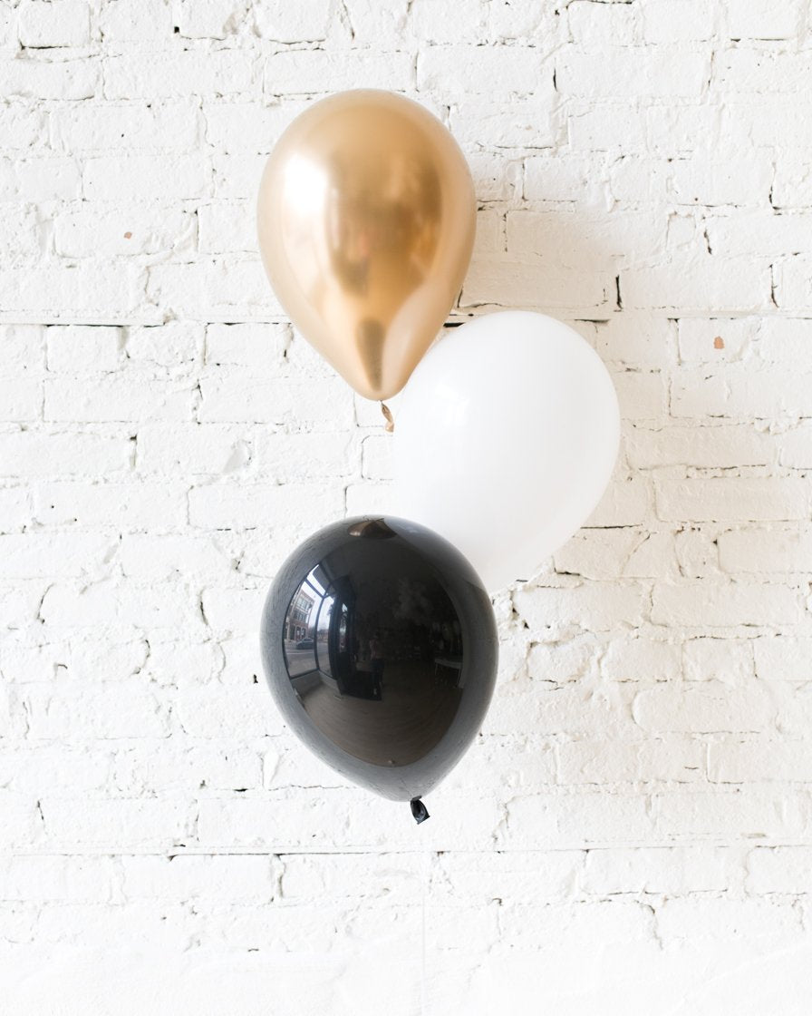 Black, White and Gold Palette 11in Balloons Centerpiece - bouquet of 3