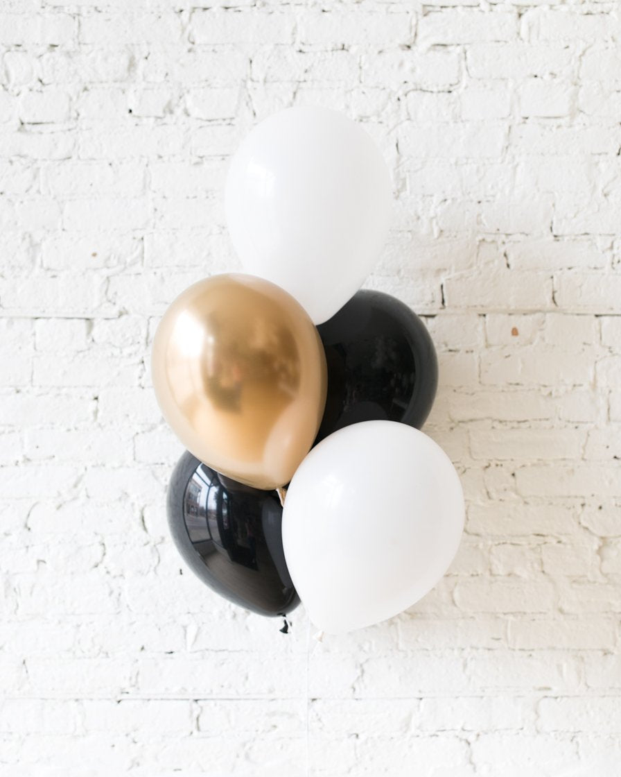 Black, White and Gold Palette 11in balloons - bouquet of 5