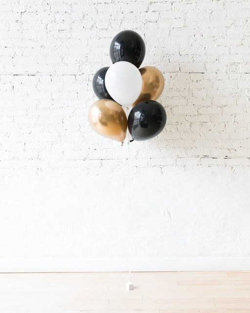 Black, White and Gold Palette 11in balloons - bouquet of 7