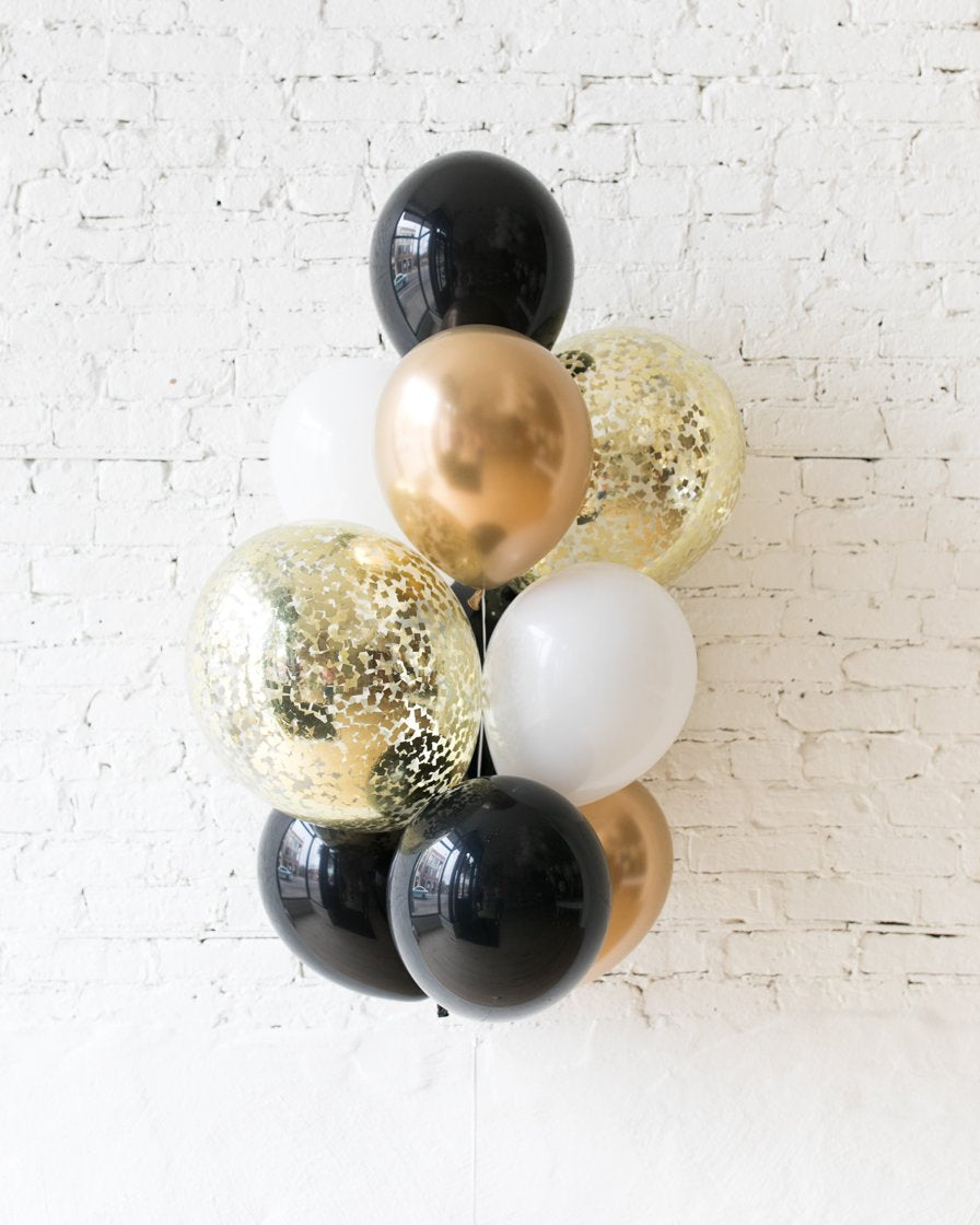 GIFT-Black, White and Gold Palette Confetti and 11in Balloons - bouquet of 10