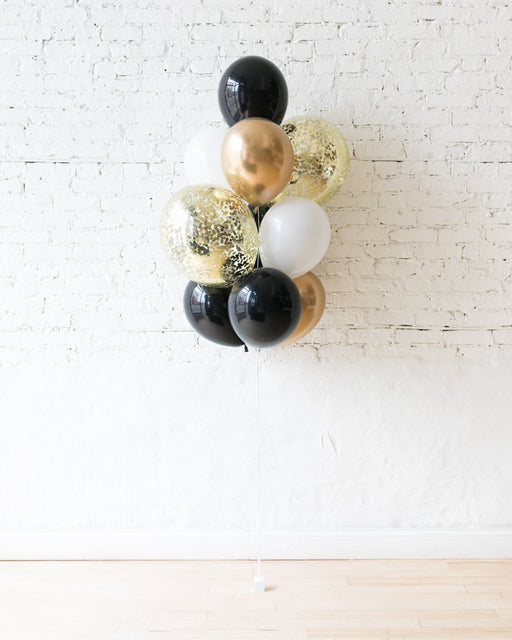 Black, White and Gold Palette Confetti and 11in Balloons - bouquet of 10