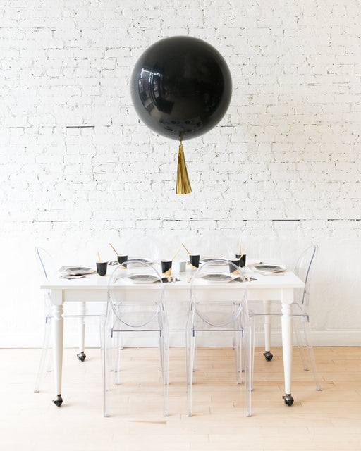 Black Giant Balloon and Gold Skirt Centerpiece
