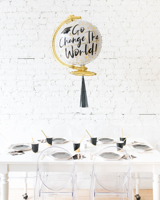 23in Go Change the World Globe Foil Balloon and Black Skirt Centerpiece