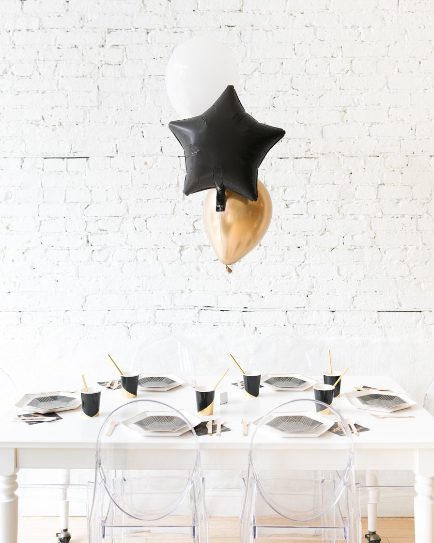 Black, White and Gold Palette Star and 11in Balloons Centerpiece - bouquet of 3