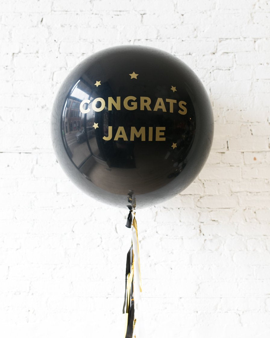 Personalized Black Congrats Balloon and Black, White and Gold Tassel