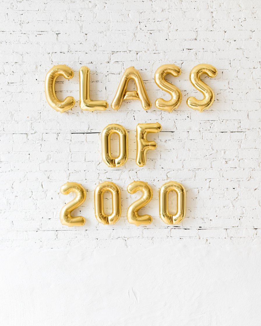 OUTDOOR-16in CLASS OF 2020 Gold Foil Balloon Set