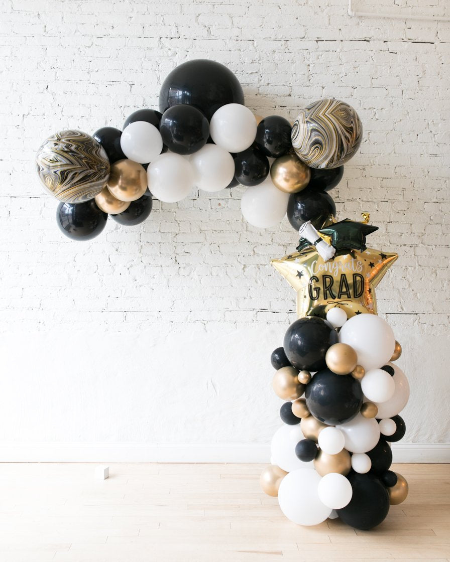 Black, White and Gold Palette Floating Arch Graduation Star Column and Floating Arch Set