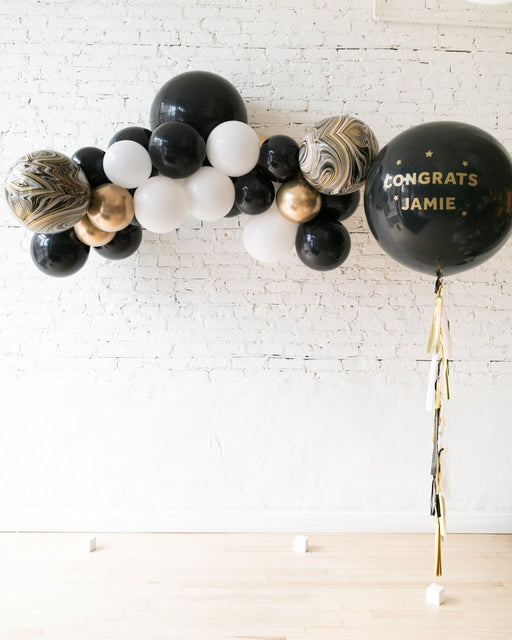 Black, White and Gold Palette Floating Arch Personalized Graduation Giant and Floating Arch Set